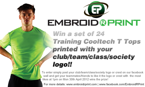 Win your club free customised t-shirts on facebook
